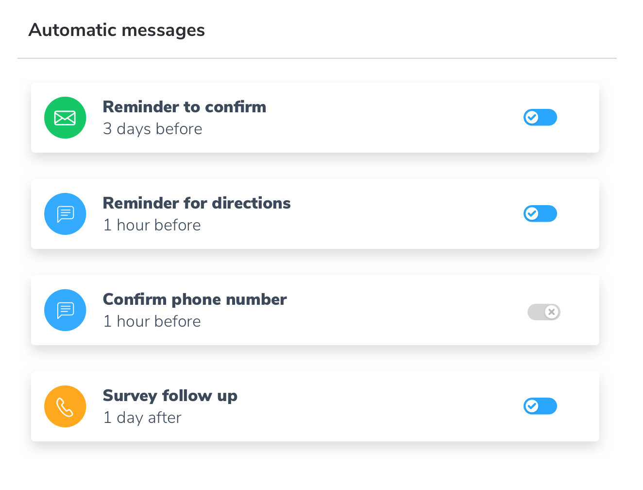 automatic initial booking messages