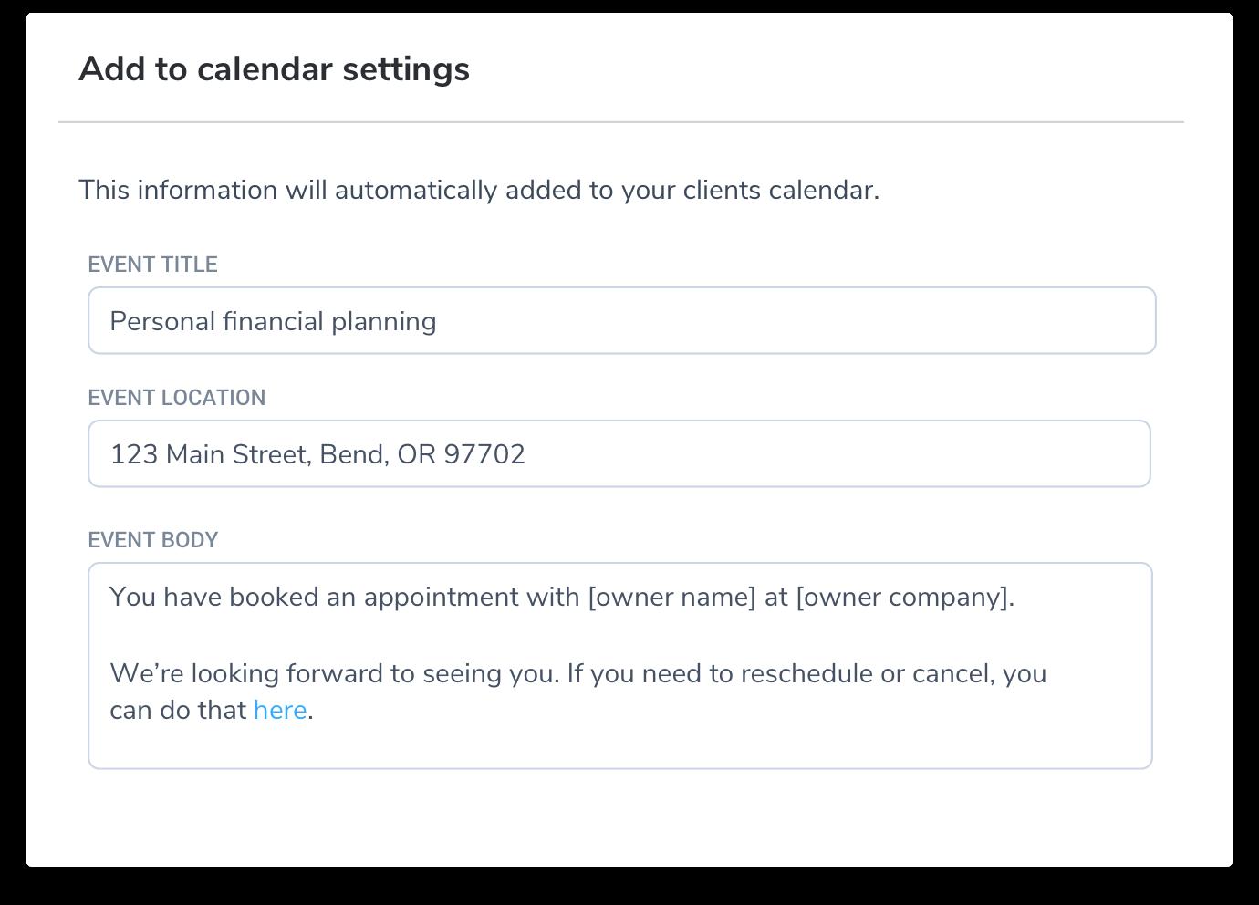 custom add to calendar content
